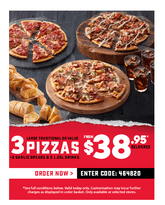 Free Dominos coupons south canberra